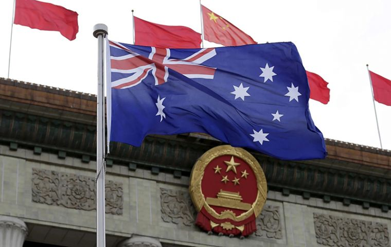 The suspension starts this Tuesday, according to a statement on a customs website. The four plants make up about 35% of Australian beef exports to China