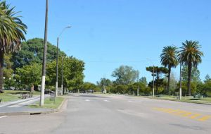 A view of the empty streets of the capital Montevideo, at the start of the sanitary emergency in early March