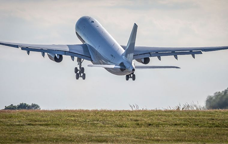 The civilian registered Voyager A330-200, G-VYGM, flew direct from RAF Brize Norton to Mount Pleasant Airfield in a record time of 15 hours and 9 minutes