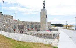 The Liberation Monument in Stanley where the ceremony will take place on Sunday