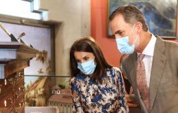 King Felipe VI and Queen Letizia visited a museum for local author Benito Perez Galdos, greeted supporters and met with tourism sector representatives