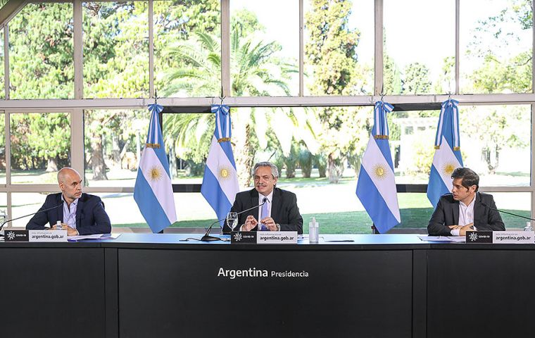 "President Fernandez, governor Kicillof (R) and Buenos Aires city elected mayor Rodríguez Larreta (L) will announce on Friday the extension of the ""preventive and compulsory isolation"""