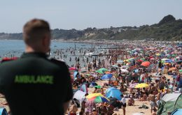 Temperatures rose to a record 33.3 Celsius at Heathrow Airport in London, the Met Office said, a day after highs of 32.6 Celsius saw huge crowds flock to the coast.