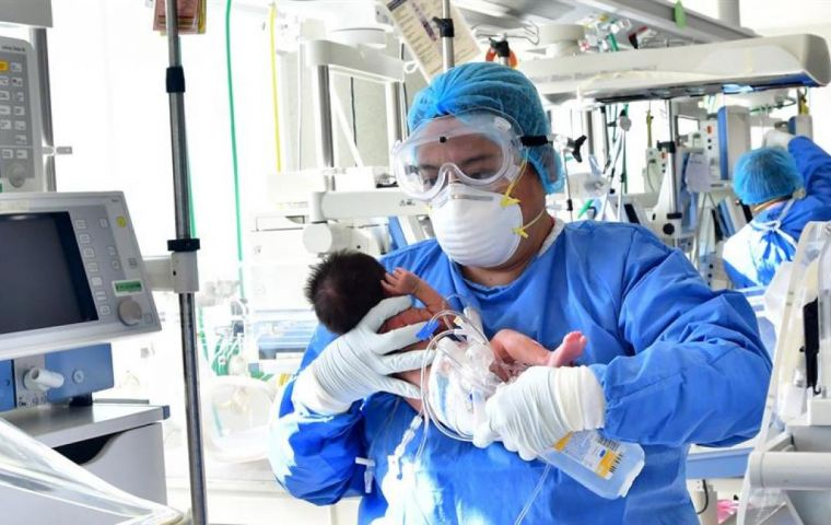 The triplets, a girl and two boys, were tested four hours after being born at seven and a half months last week in the central state San Luis Potosi