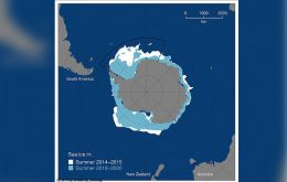 Ice loss occurred due to a series of severe storms in the Antarctic summer of 2016/17, along with the re-appearance of an area of open water in the middle of the 'pack ice' (known as a polynya)