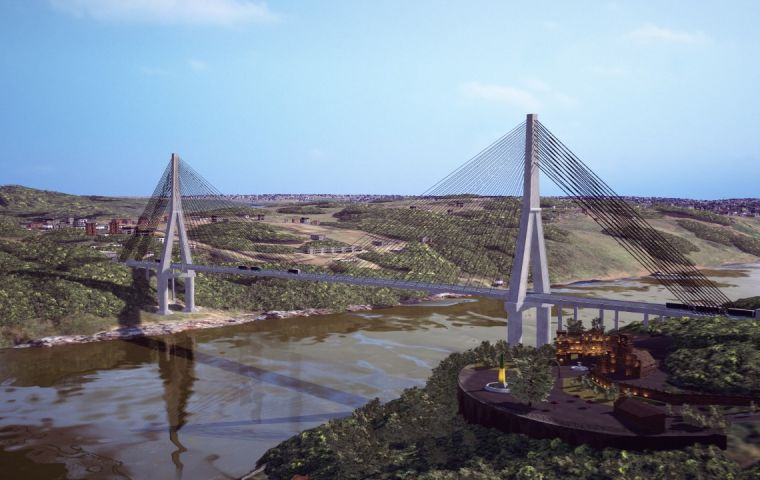 Building the bridge is costing US$84 million, but with 37km of connecting roads it comes with a price tag of over US$ 180 million