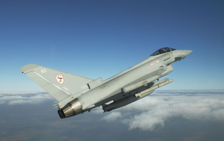 The RAF Typhoon, a multi-role combat aircraft is the mainstay of the UK Military's Quick Reaction Alert provision for UK and Falkland Islands airspace.