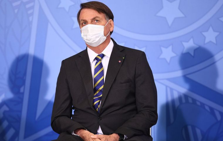 "Bolsonaro just coming off three weeks in quarantine said ""I'm in the high-risk group,"" during a visit to the southern state of Rio Grande do Sul."