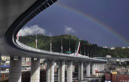 As a rainbow appeared in the sky, PM Giuseppe Conte cut the ribbon on the new bridge, designed by famed Italian architect Renzo Piano
