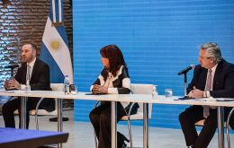 """There has been massive acceptance, thanks to the dialogue process,"" said Guzman, alongside President Alberto Fernandez and Vice President Cristina Kirchner"