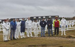 Forensic experts working at the Argentine Military Cemetery in the Falklands (Pic ICRC)