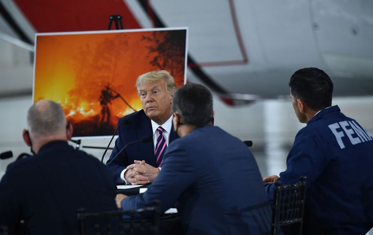 Trump on his arrival to California repeated his argument that the wildfires are due instead to insufficient maintenance of forest areas to make them less combustible.