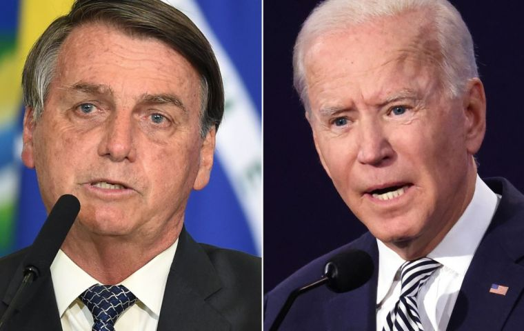 "Bolsonaro, who has been dubbed a ""Tropical Trump"" told Biden Brazil would not accept ""coward threats towards our territorial and economic integrity."""