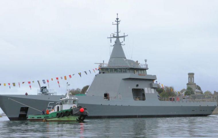 OPV 87 Argentine Offshore Patrol Vessel ARA Piedrabuena. (Picture source Naval Group)
