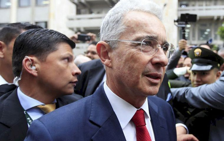 Uribe served from 2002 to 2010 and was known for his tough approach to fighting leftist FARC guerrillas and later for opposing an historic 2016 peace accord
