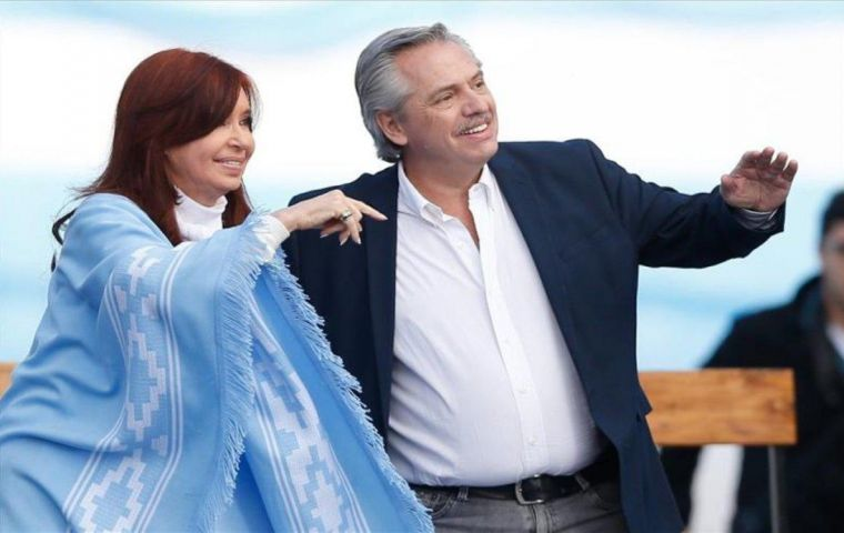 President Alberto Fernandez and vice-president Cristina Kirchner. He holds office while she has the votes and plots the course