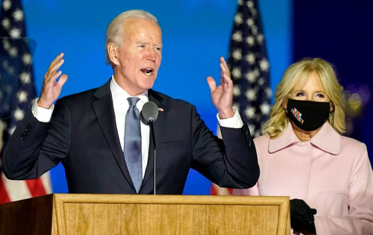 """It's not my place or Donald Trump's place to say who won this election. That's the decision of the American people. But I'm optimistic about this outcome,"" Biden said."