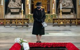 <br /> At the heart of the ceremony, as ever, was the Cenotaph, unveiled a century ago by George V, overlooked on Sunday by the Queen on a Foreign Office balcony.<br />