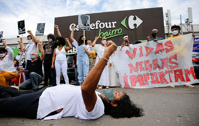 The killing, which has sparked protests across Brazil, occurred late on Thursday when a store employee called security after the man threatened to attack her