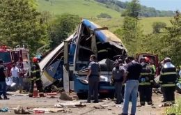 """There were bodies everywhere"" when rescuers arrived, a police source said. ""It was impossible to tell who had been in the truck and who had been in the bus"""