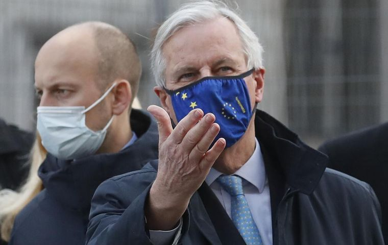 Face-to-face discussions resumed in London over the weekend, after chief EU negotiator Michel Barnier left self-isolation following a colleague's positive Covid-19