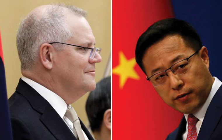 "Australia's PM Scott Morrison called the tweet posted by China's foreign ministry spokesman, Zhao Lijian, ""truly repugnant"", and called for an apology."