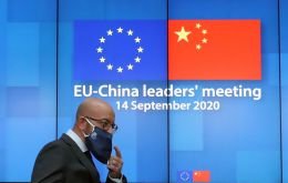 In the first nine months of 2020, EU and China trade totaled €425.5 billion, while trade between the EU and US came in at €412.5 billion, according to Eurostat data.