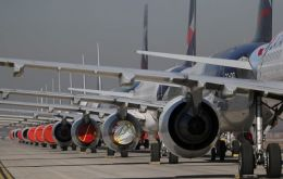 LATAM aircraft lined up at Santiago's main airport. REUTERS/Ivan Alvarado