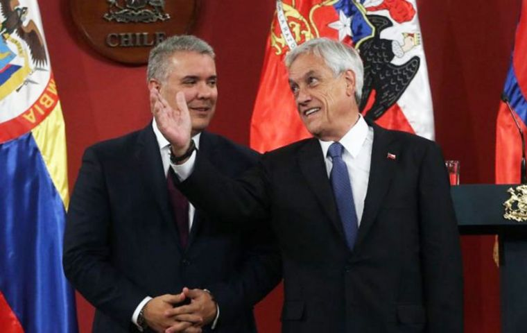The president of Chile, Sebastian Piñera, will pass the pro tempore presidency of the Alliance to Colombia's Ivan Duque, the only president travelling to Santiago