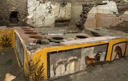 Known as a termopolium, Latin for hot drinks counter, the shop was discovered in the archaeological park's Regio V site, which is not yet open the public