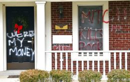 "Spray paint on Senate Majority Leader Mitch McConnell's door in Kentucky on Saturday read, ""WERES MY MONEY."" ""MITCH KILLS THE POOR"""