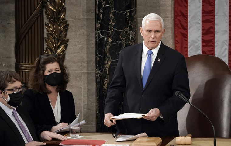 Last week Pence defied Trump's call to overturn the election and instead fulfilled his duty to preside over Congress's acceptance of the Electoral College results.