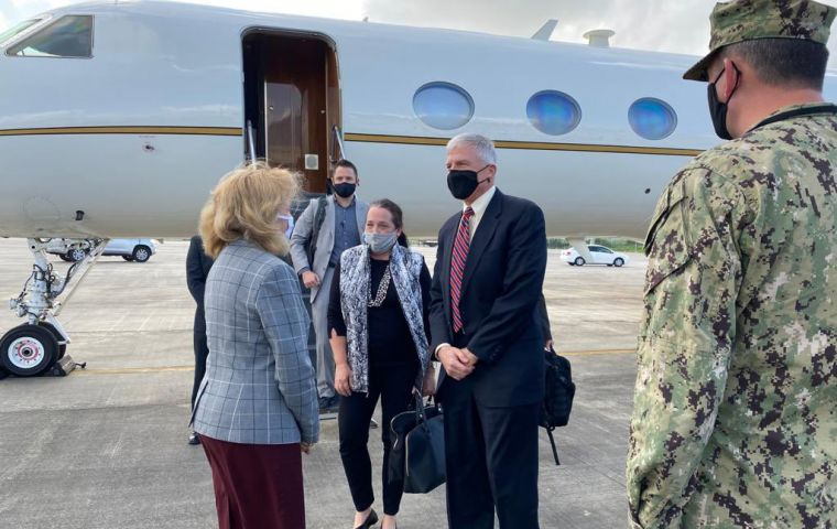 The commander of US Southern Command Craig Faller arrived in Guyana for a three-day visit, following the start of joint US-Guyana coast guard exercises