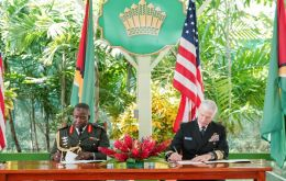 Guyana Defense Force Chief of Staff, Brigadier General Godfrey Bess and US Admiral Craig S Faller entered into an agreement the US Department of Defense