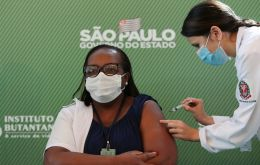 Minutes after health agency Anvisa approved the Sinovac vaccine on Sunday, Monica Calazans, a nurse in Sao Paulo, became the first person to be inoculated