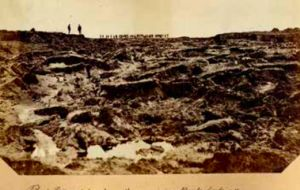 Above right reads: Peat slips - taken from the remaining bank looking through the gap. Gov Callaghan standing on the left