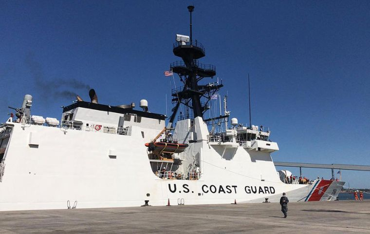 USCG Stone in Montevideo is loading fuel and supplies