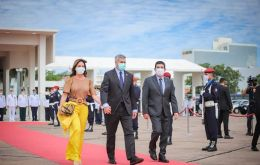 Paraguayan president Mario Abdo Benitez and foreign minister Euclides Acevedo arrived in Punta del Este late Tuesday evening