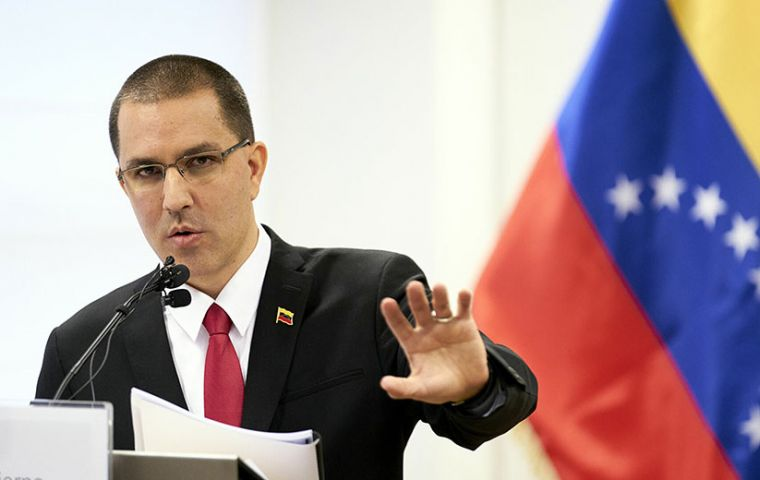 """Venezuelan foreign minister Jorge Arreaza said in a statement posted on Twitter that the sanctions were based on """"false arguments about honorable citizens"""""""