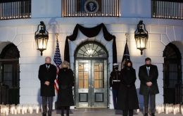 Mr Biden, Vice-President Kamala Harris, first lady Jill Biden and second gentleman Doug Emhoff marked a moment of silence at 6.15pm at the White House after the president's remarks.(GETTY IMAGES)