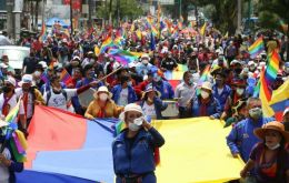 "Demonstrators arrived in Quito carrying the flag of the Pachakutik party that backs Perez, and shouting slogans, including ""transparency yes, fraud no."""