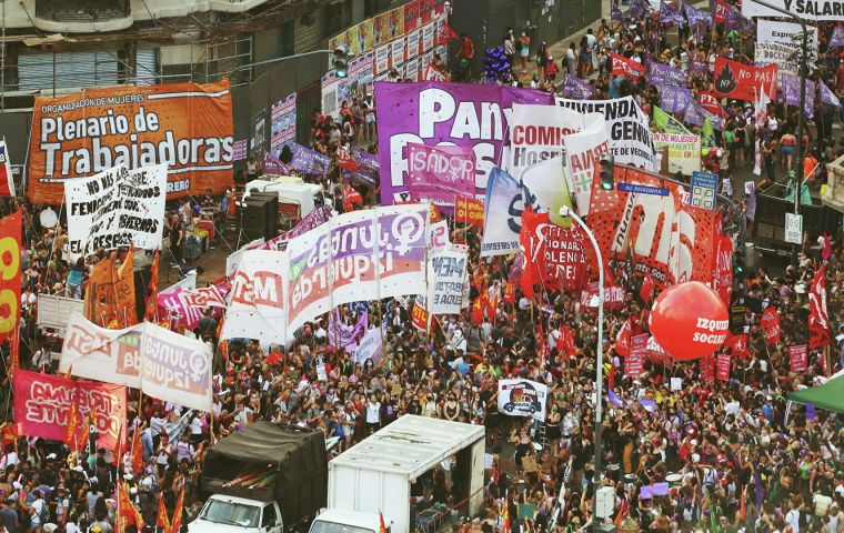 Thousands of women also marched in Buenos Aires, Argentina, which has seen a wave of femicide that has claimed on average one life per day so far in 2021.