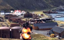 Leftover ordnance from the 1982 conflict is safely detonated above Grytviken (Photo: Royal Navy).