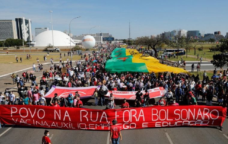 """""""Bolsonaro Out"""" and """"Vaccine Now,"""" chanted the crowds."""