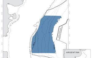 Mapa que muestra la extensión del Área Marina Protegida Argentina, el Agujero Azul en el Atlántico Sur