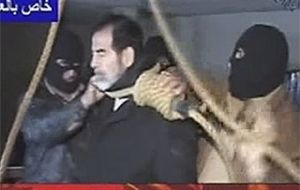 Saddam Hussein during his execution