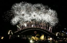 Fireworks explode over the Sydney Harbor Bridge in the annual display to celebrate the New Year in Sydney