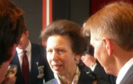 HRM Princess Anne during a reception in the Town Hall at Stanley
