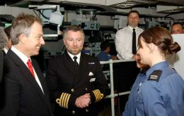 Primer Minister Tony Blair meets the crew during his visit to HMS Albion