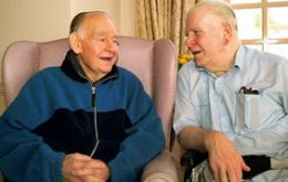 Bobby (left) and Gordon Hay chat in the old Cromarty dialect.